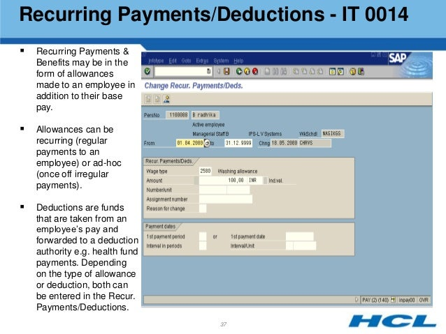 Hcl indian payroll3 36 37 recurring paymentsdeductions sciox Choice Image