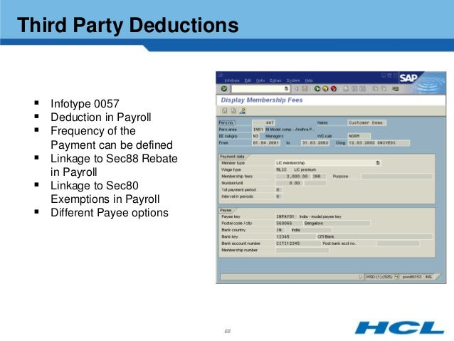 Hcl indian payroll3 off cycle work bench 67 68 third party deductions sciox Choice Image