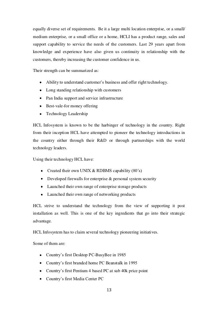 literature review of hcl infosystems