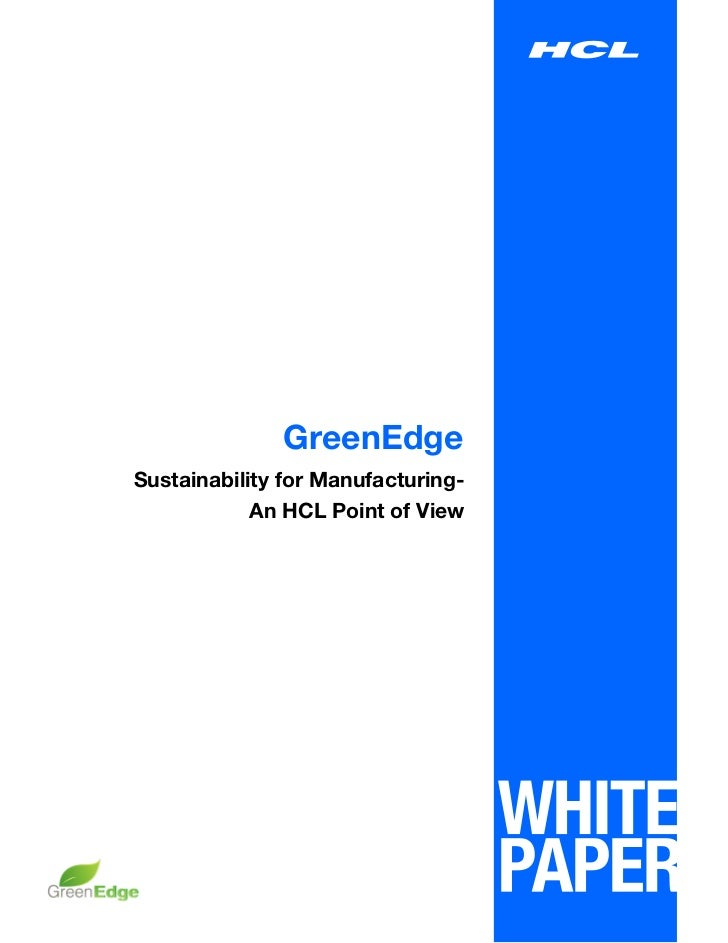GreenEdgeSustainability for Manufacturing-            An HCL Point of View