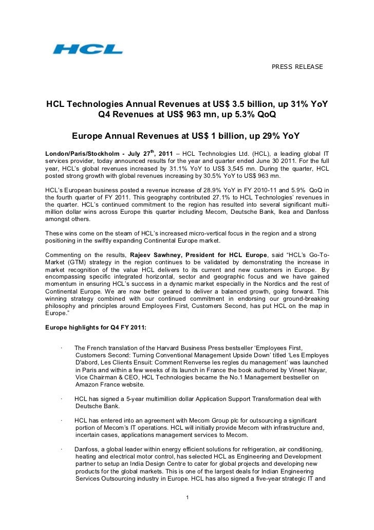PRESS RELEASE	    HCL Technologies Annual Revenues at US$ 3.5 billion, up 31% YoY            Q4 Revenues at US$ 963 mn, up...