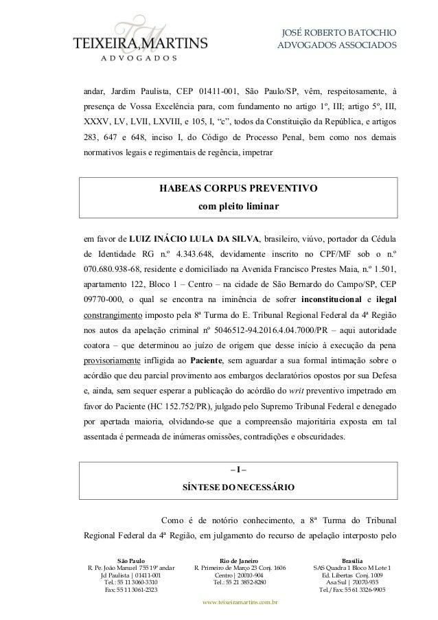 pedido de habeas corpus da defesa de lula3326 Artigo 7 Da Constituicao Federal Comentado #4