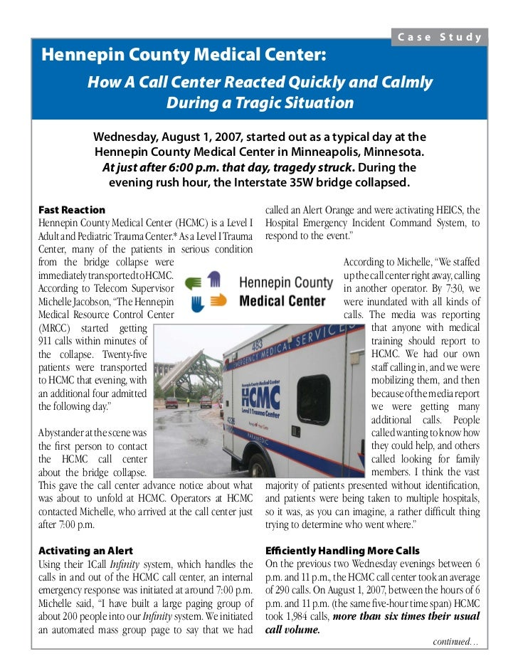 Case Study Hennepin County Medical Center:             How A Call Center Reacted Quickly and Calmly                       ...