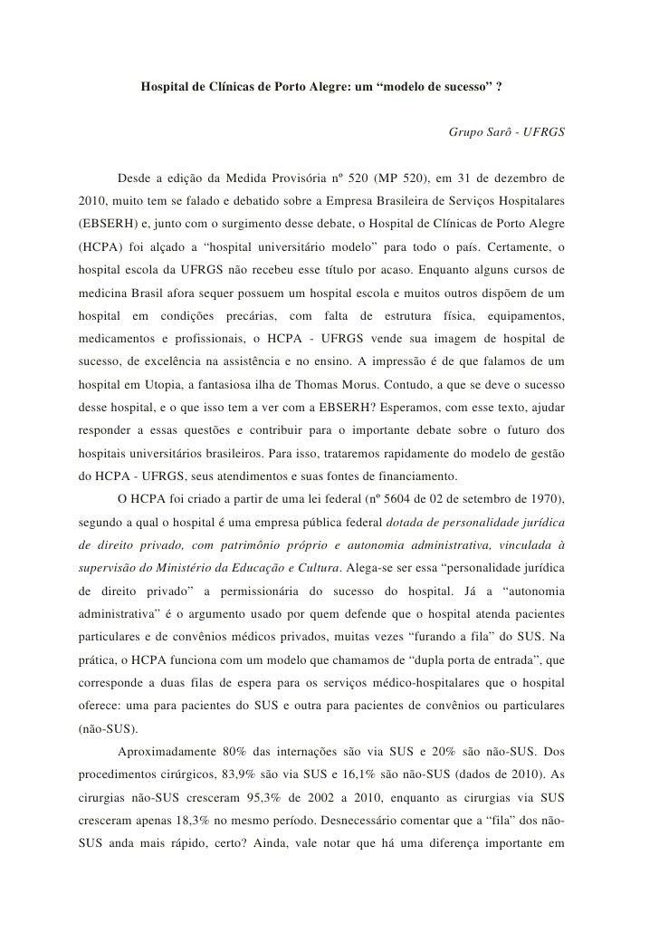 """Hospital de Clínicas de Porto Alegre: um """"modelo de sucesso"""" ?                                                            ..."""