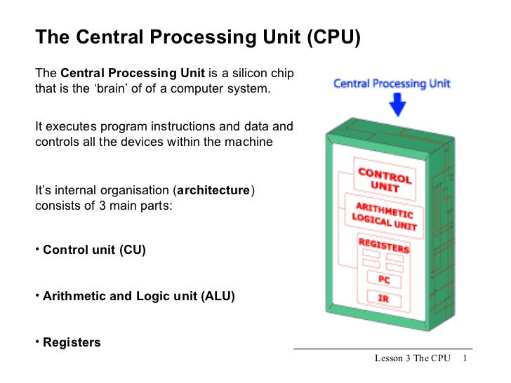Lesson 3 The CPU The Central Processing Unit (CPU) The  Central Processing Unit  is a silicon chip that is the 'brain' of ...