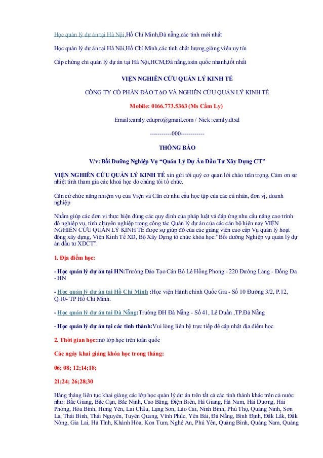 Học quản lý dự án tại Hà Nội,Hồ Chí Minh,Đà nẵng,các tỉnh mới nhấtHọc quản lý dự án tại Hà Nội,Hồ Chí Minh,các tỉnh chất l...