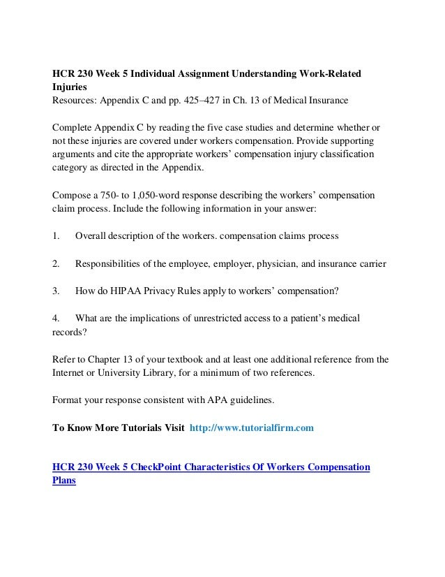 hcr 230 week 5 checkpoint characteristics of workers compensation Interested in week 5 checkpoint characteristics of workers' compensation plans hcr 230 bookmark it to view later bookmark week 5 checkpoint characteristics of workers' compensation plans hcr 230.