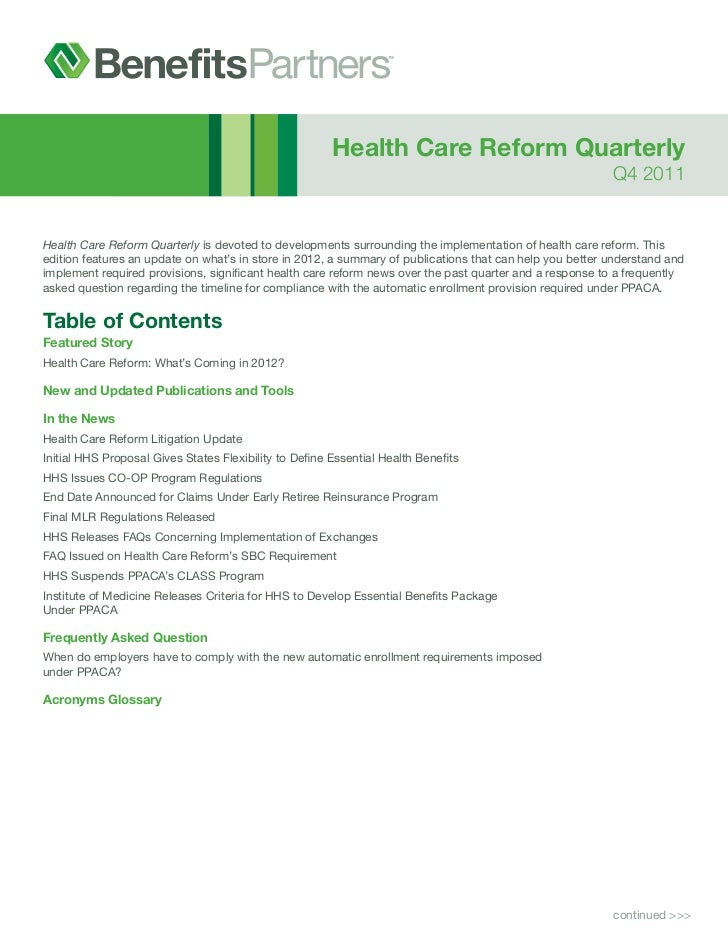 Health Care Reform Quarterly                                                                                              ...