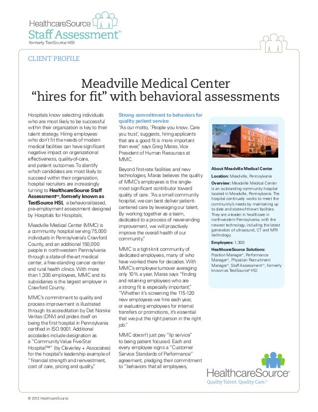 """Meadville Medical Center """"hires for fit"""" with behavioral assessments Hospitals know selecting individuals who are most lik..."""