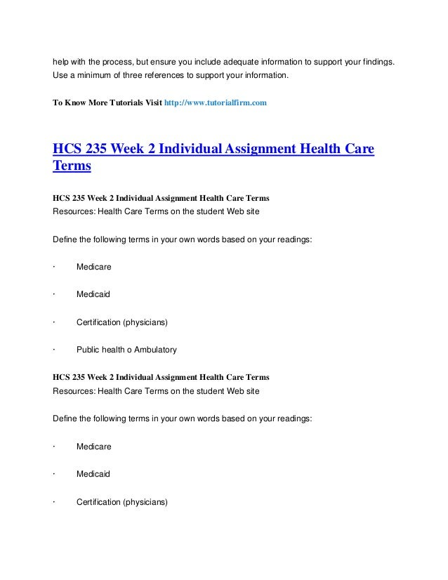 hcs 235 week 2 completed Hcs hcs 235 hcs 235  we aren't  hcs 235 - fall 2014 register now katherine_poppell_health care  week 2 individual assignment health care terms.