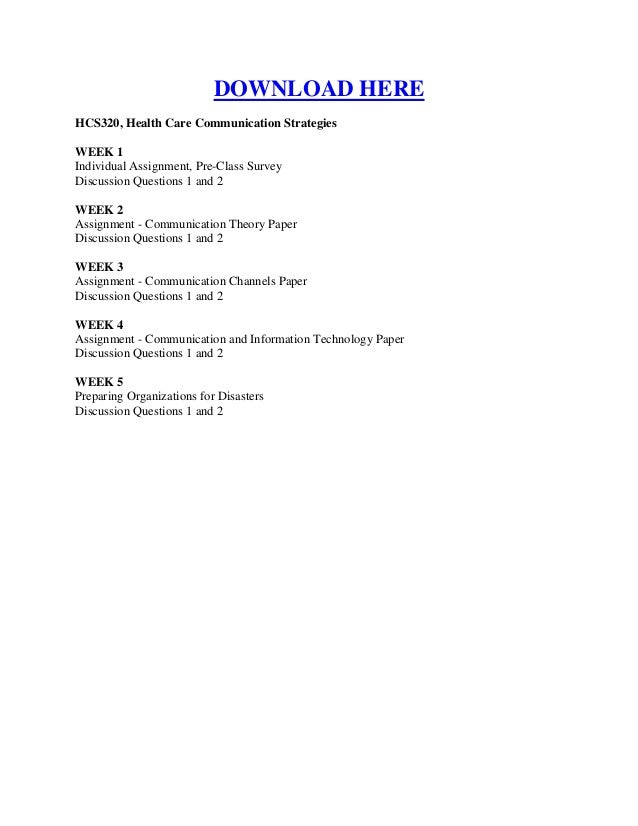 hcs 320 week 1 assignment Title: hcs 320 week 1 individual assignment pre, author: kingkobrav, name: hcs 320 week 1 individual assignment pre, length: 1 pages, page: 1, published: 2014-10-19.