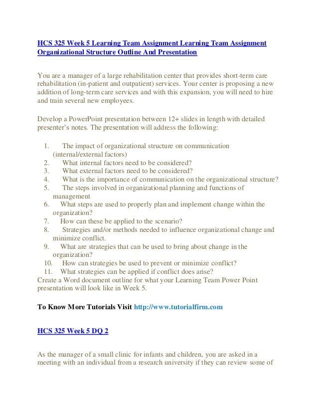 Organizational structure presentation hcs 325 final