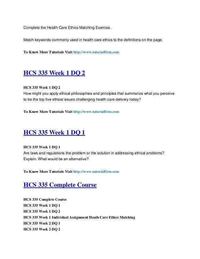 Hcs 545 health law and ethics