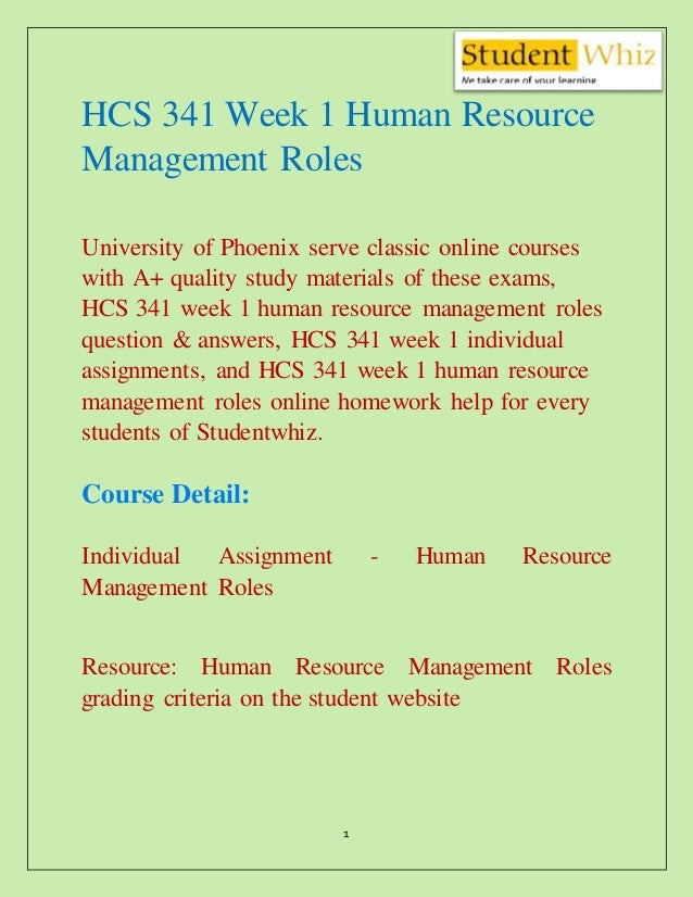 HCS 341 Week 1 Human Resource Management Roles - HCS 341 ...