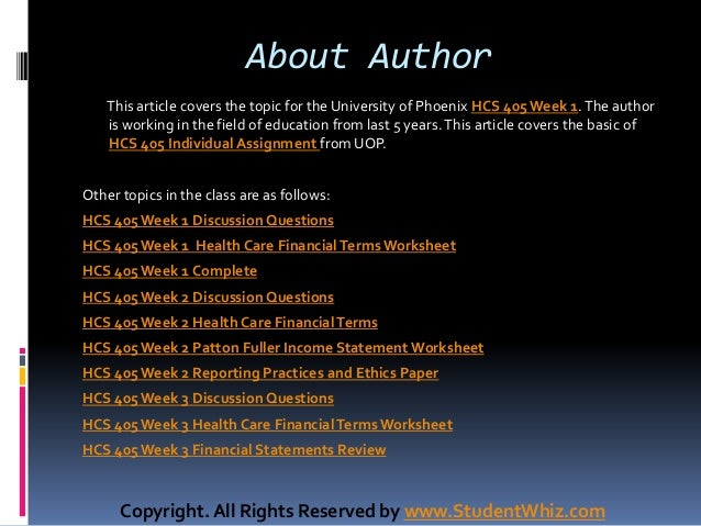 hcs 405 week 1 financial terms worksheet Issuu is a digital publishing platform that makes it simple to publish magazines, catalogs, newspapers, books, and more online easily share your publications and get them in front of issuu's .