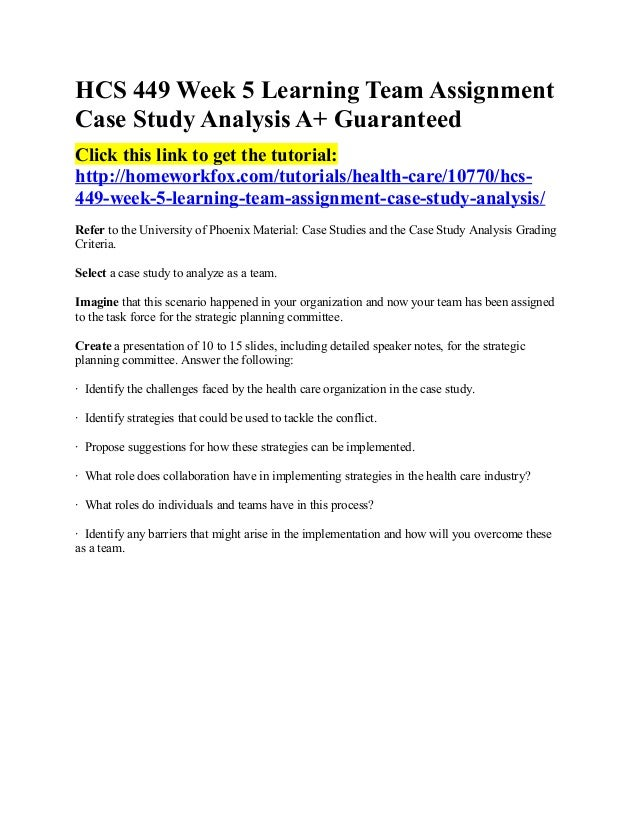 Hcs 449 case study analysis