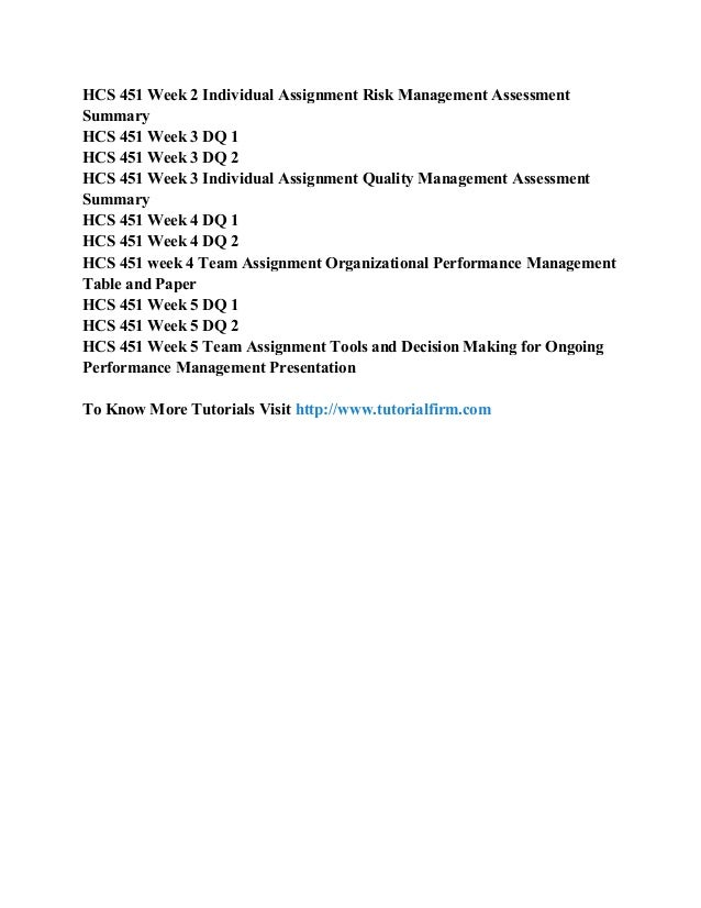 hcs 451 overview of risk management and quality management in health care worksheet Hcs 451 week 2 quality dimension and measures table join the largest growing online portal for hcs 451 week 2 quality dimension and measures table help get the best help available online to the course (university of phoenix) and score the highest grades in discussion questions.