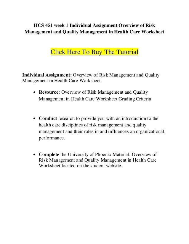 hcs 451 week 1 individual assignment overview of risk management and. Black Bedroom Furniture Sets. Home Design Ideas