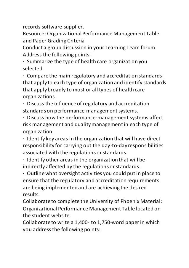 hcs 451 organizational performance management Collaborate to complete the university of phoenix material organizational performance management table located on student website nbsp write a.