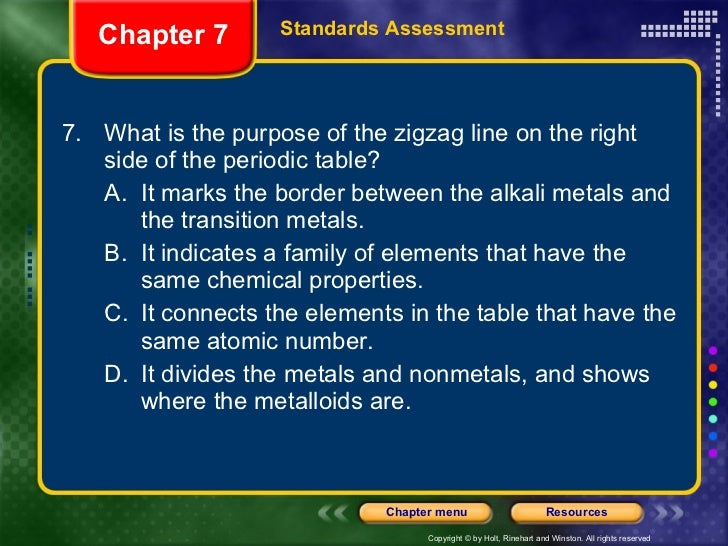 Phyical science ch 7 standards assessment 48 ulli7 what is the purpose of the zigzag line on the right side of the periodic table urtaz Choice Image