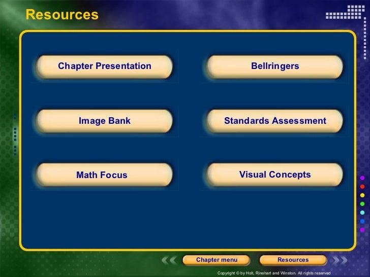 Resources Chapter Presentation Image Bank Math Focus Bellringers Standards Assessment Visual Concepts