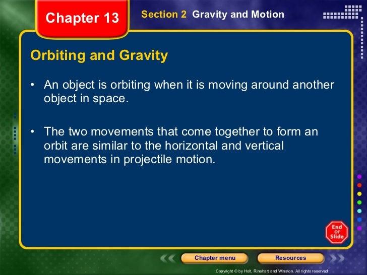 Orbiting and Gravity <ul><li>An object is orbiting when it is moving around another object in space. </li></ul><ul><li>The...