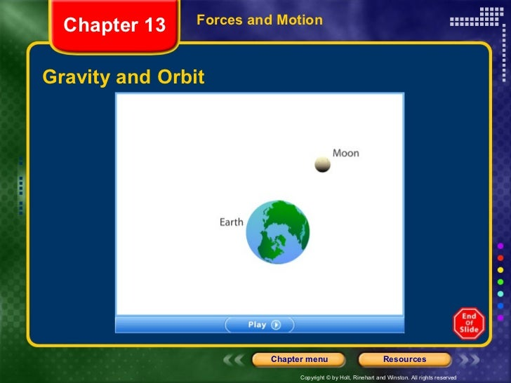 Gravity and Orbit Forces and Motion Chapter 13
