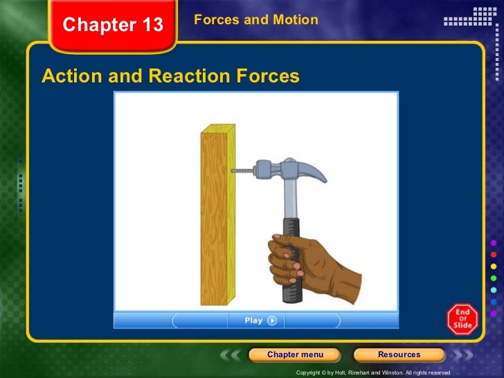 Action and Reaction Forces Forces and Motion Chapter 13