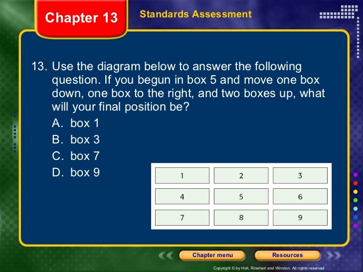 <ul><li>13. Use the diagram below to answer the following question. If you begun in box 5 and move one box down, one box t...