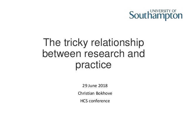 The tricky relationship between research and practice 29 June 2018 Christian Bokhove HCS conference