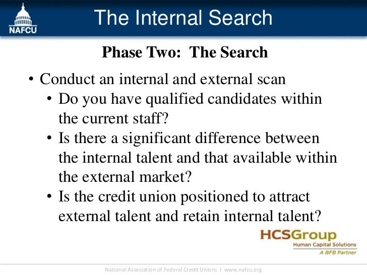 The Internal Search           Phase Two: The Search• Conduct an internal and external scan   • Do you have qualified candi...