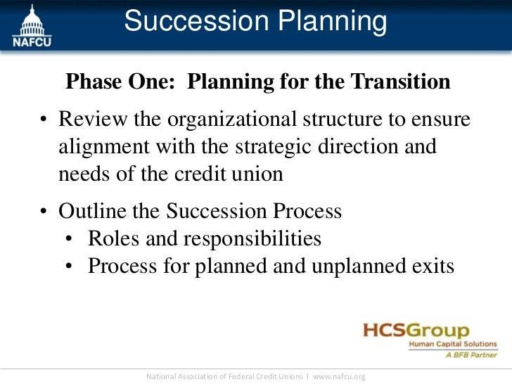Succession Planning  Phase One: Planning for the Transition• Review the organizational structure to ensure  alignment with...