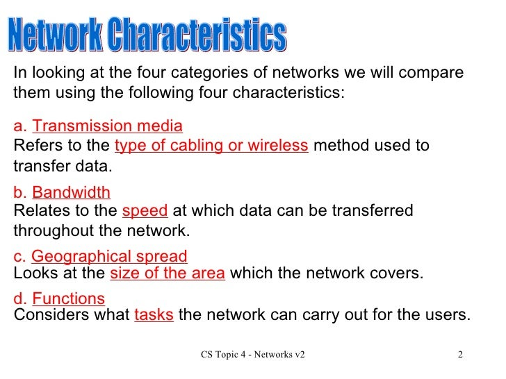 a comparison of the characteristics of different types of media used for local area networks We use different types of cables or waves to transmit data  types of transmission media  each of them has its own characteristics like transmission speed .