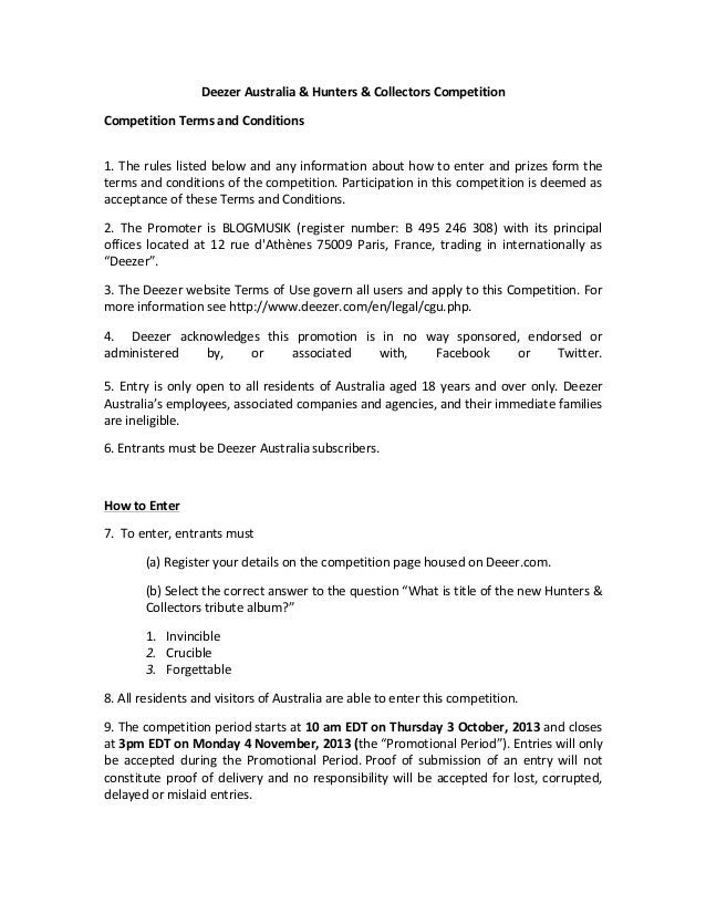 Deezer	   Australia	   &	   Hunters	   &	   Collectors	   Competition	   	    Competition	   Terms	   and	   Conditions	  ...