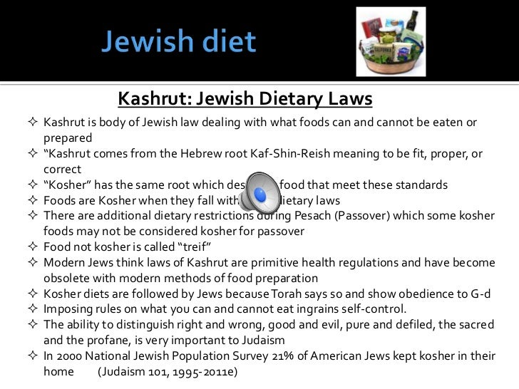 kosher jewish laws Soul food the jewish dietary laws by rabbi mordechai becher, yeshiva ohr somayach the laws of kashrut allow us to enjoy the pleasures of the physical world, but in such a way that we sanctify and elevate the pleasure through consciousness and sensitivity.