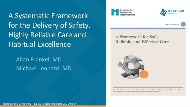 A Systematic Framework for the Delivery of Safety, Highly Reliable Care and Habitual Excellence Allan Frankel, MD Michael ...