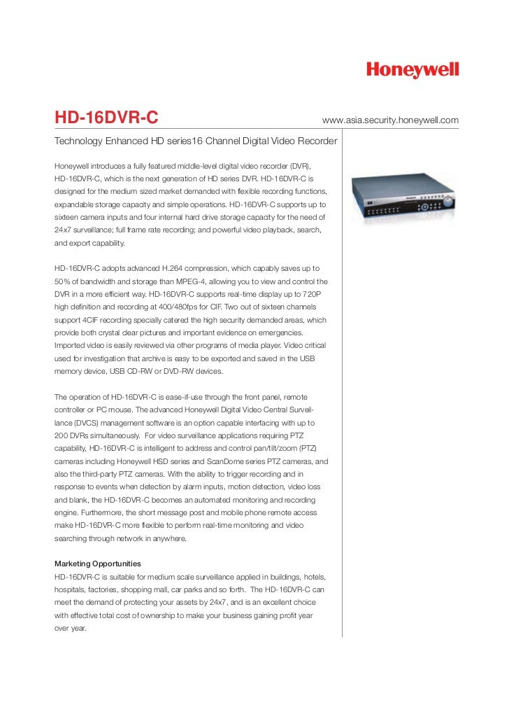 HD-16DVR-C                                                                           www.asia.security.honeywell.comTechno...