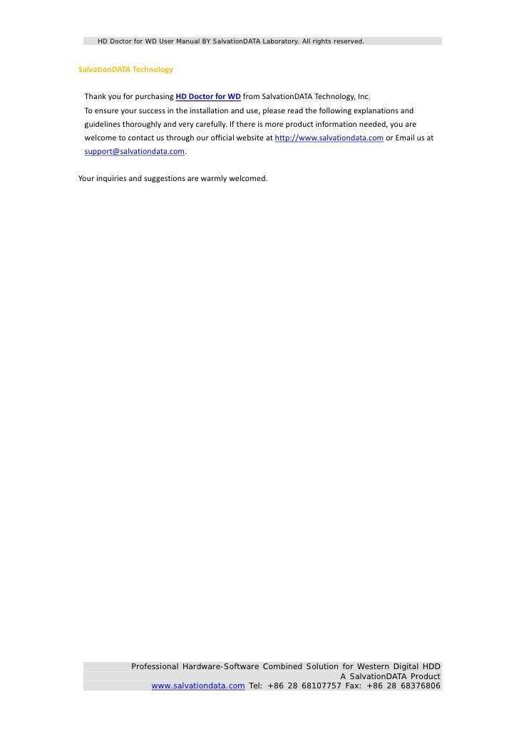 hd doctor for wd user manual ver 2 0 rh slideshare net wd instruction manual wd instruction manual