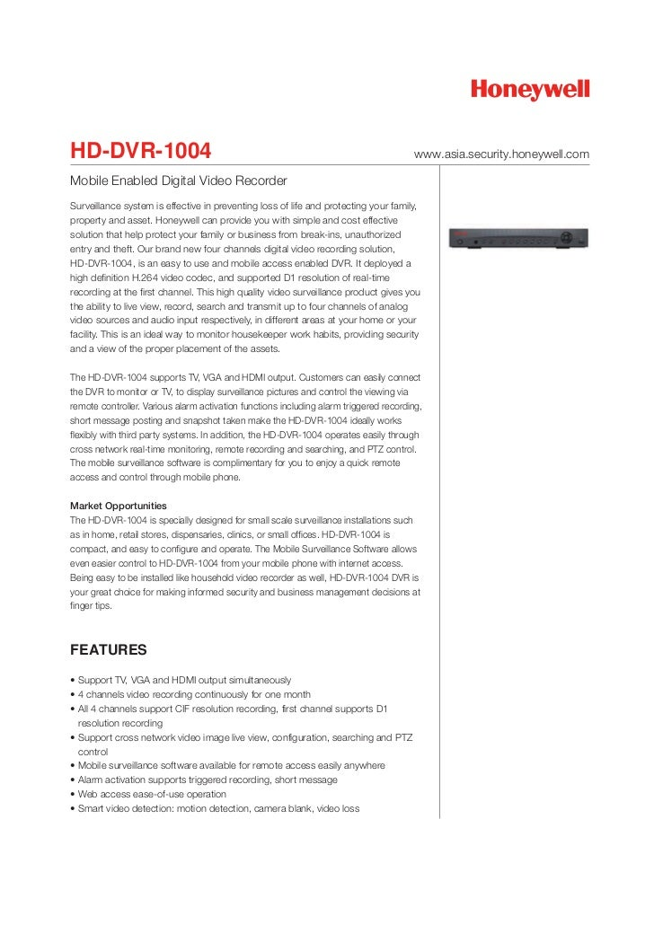 HD-DVR-1004                                                                            www.asia.security.honeywell.comMobi...