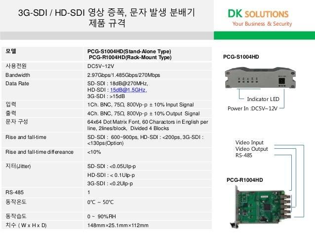 모델 PCG-S1004HD(Stand-Alone Type) PCG-R1004HD(Rack-Mount Type) 사용전원 DC5V~12V Bandwidth 2.97Gbps/1.485Gbps/270Mbps Data Rate...