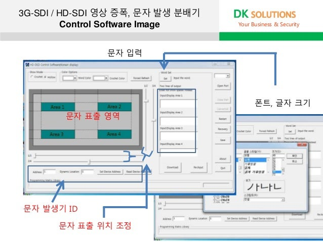 3G-SDI / HD-SDI 영상 증폭, 문자 발생 분배기 Control Software Image DK SOLUTIONS Your Business & Security 문자 발생기 ID 문자 표출 영역 문자 표출 위치 ...