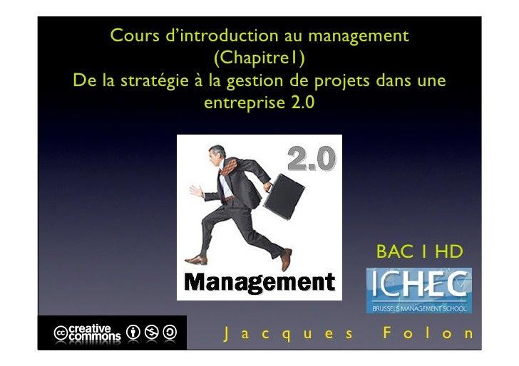 ICHEC BAC 1 INTRO MANAGEMENT COURS 1 version pdf