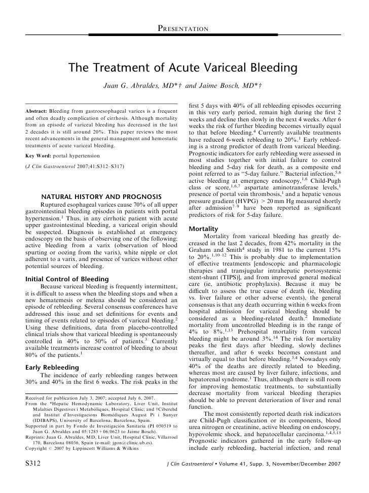 PRESENTATION                        The Treatment of Acute Variceal Bleeding                                      Juan G. ...