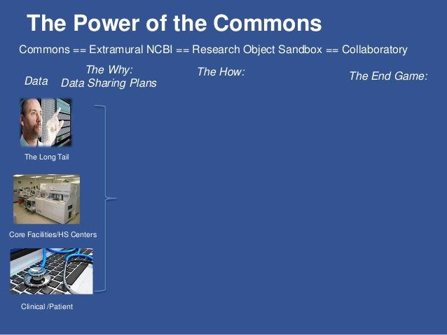 The Power of the Commons Data The Long Tail Core Facilities/HS Centers Clinical /Patient The Why: Data Sharing Plans The H...