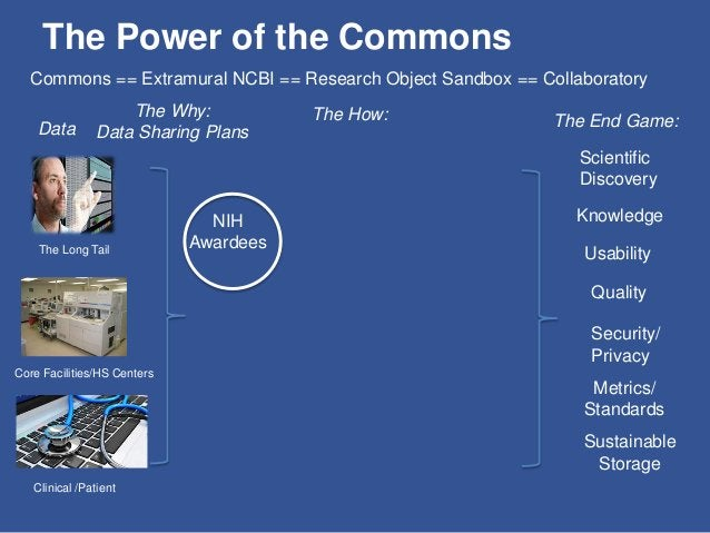 The Power of the Commons Data The Long Tail Core Facilities/HS Centers Clinical /Patient The Why: Data Sharing Plans Gover...