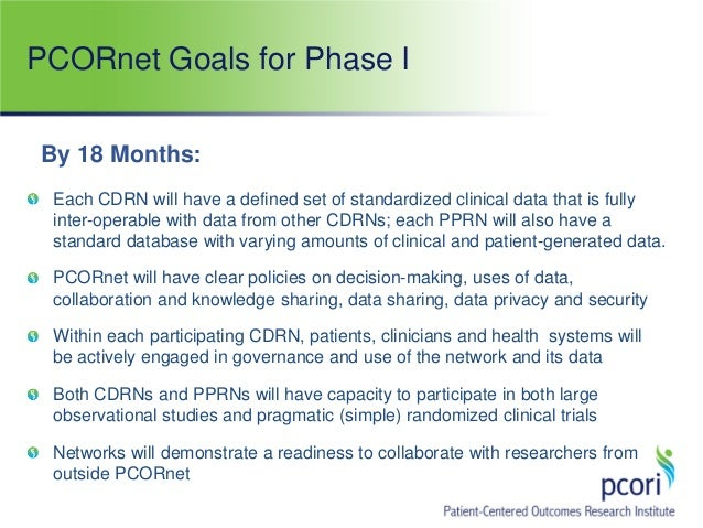 PCORnet Goals for Phase I Each CDRN will have a defined set of standardized clinical data that is fully inter-operable wit...