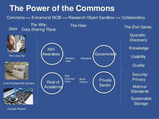 The Power of the Commons Data The Long Tail Core Facilities/HS Centers Clinical /Patient The Why: Data Sharing Plans The C...