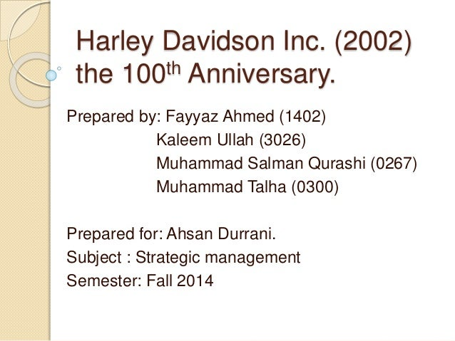 harley davidson inc case study analysis Strategic managementcase analysis case: harley davidson, inc -2004 by richardacox francis marion university submi.