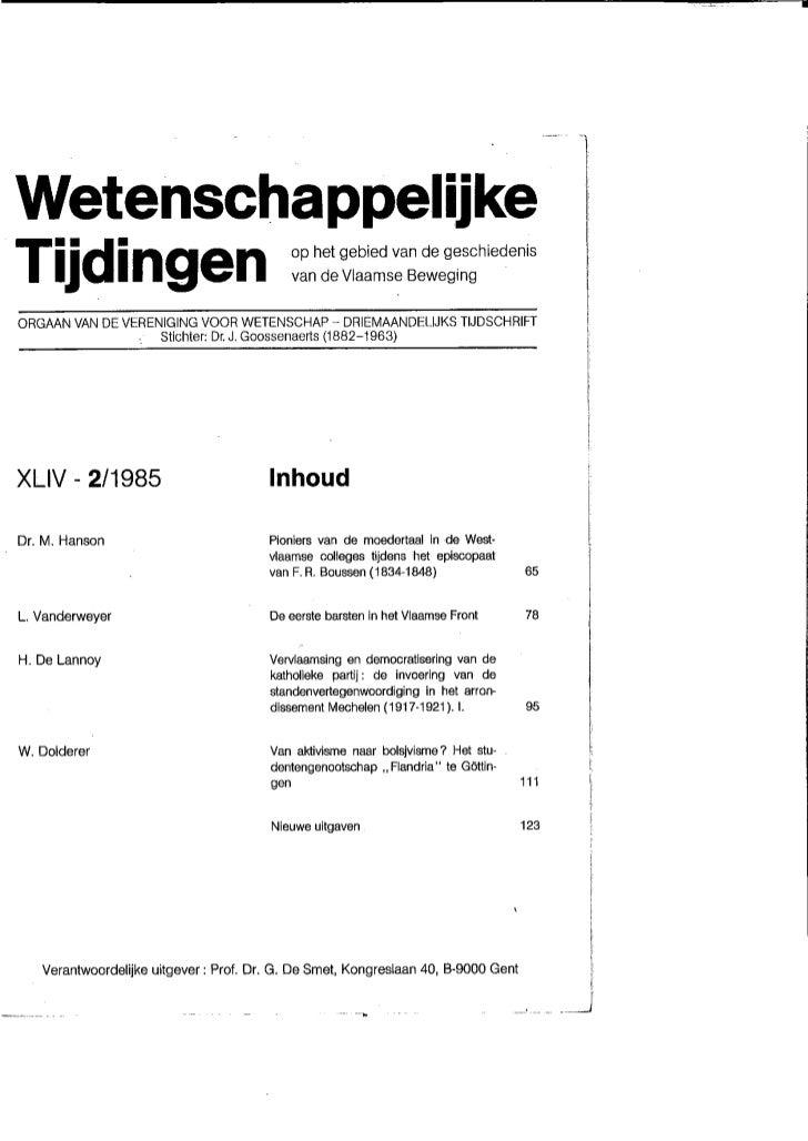 H De Lannoy Art Katholieke Partij Wetenschappelijke Tijdingen 1985 1986