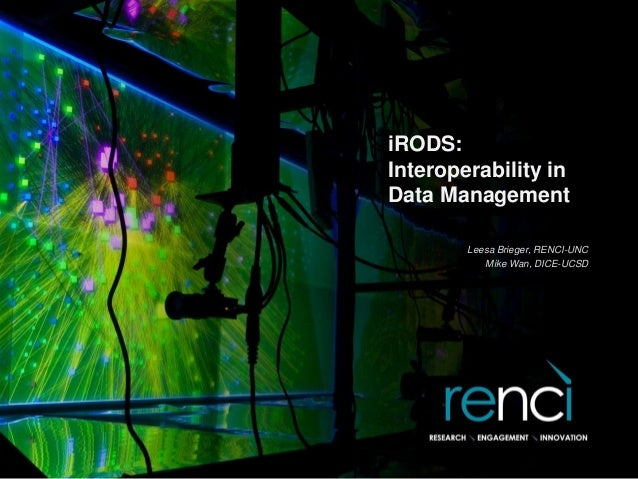 iRODS: Interoperability in Data Management Leesa Brieger, RENCI-UNC Mike Wan, DICE-UCSD